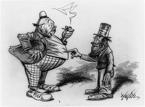 cartoon man pokin fat man in stomach