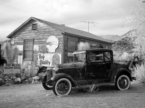 View of vintage car at the Hackberry General Store on Route 66 i