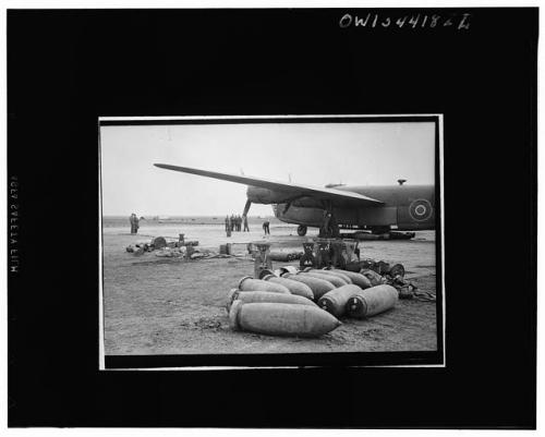 bomber with bombs on ground