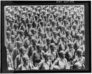 soldiers massed