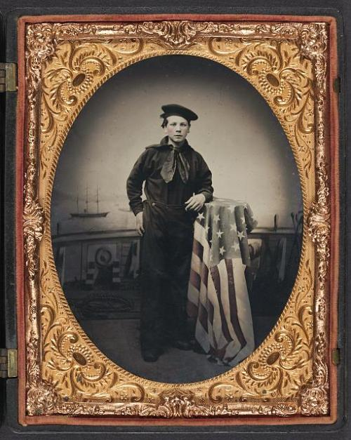 civil war sailor boy and flag