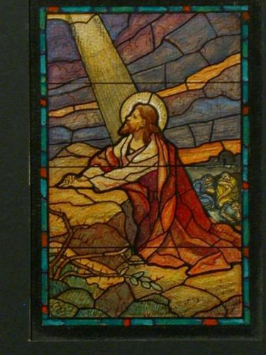 jesus stained glass kneeling