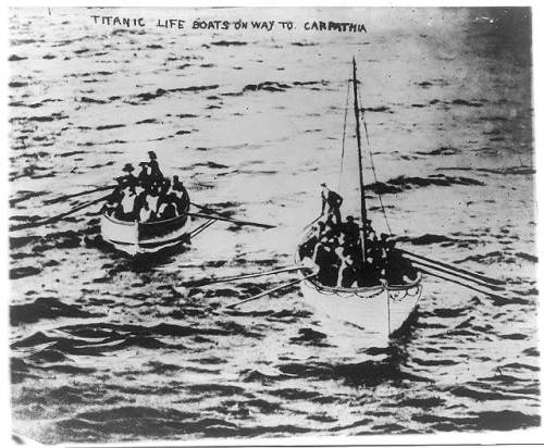 Titanic boats on way to Carpathia