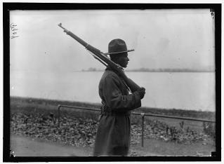black soldier guard duty