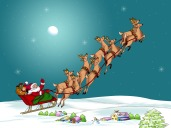xmas sant and reindeer flying