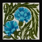 pottery flowers blue