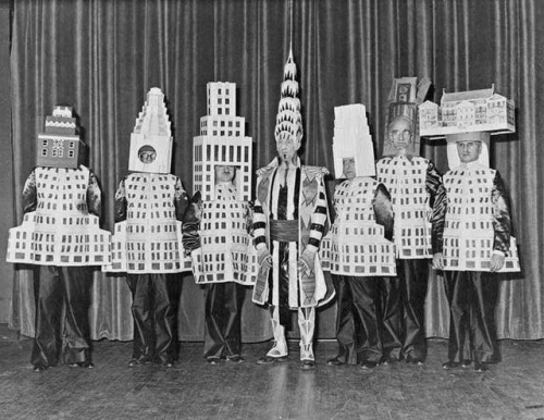 architects 1931 dressed as NY buildings