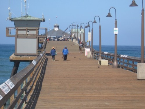 Looking down the length of the Imperial Beach pier.