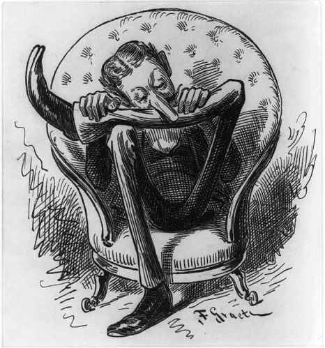 caricature man seated