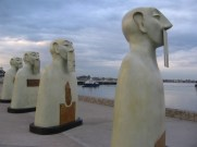 Sculptures on display on San Diego's Embarcadero near Tuna Harbor.