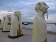 Sculptures on display on San Diego's Embarcadero near Tuna Harbor.