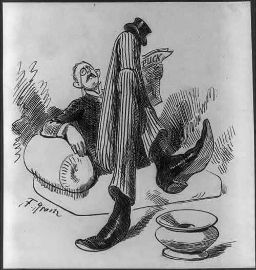 gentleman reading cartoon