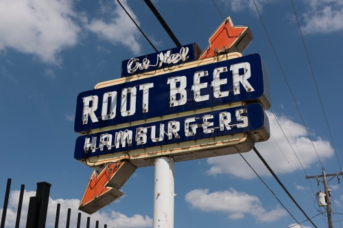 root beer hamburgers sign