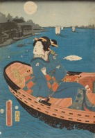 Japanese print woman in boat