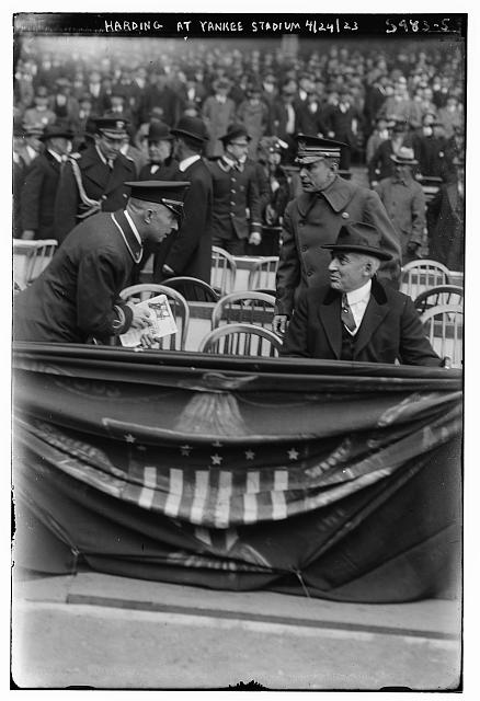warren g harding at ballgame