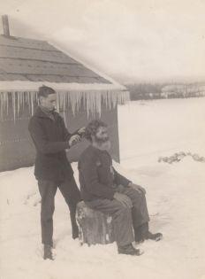 man in snow 1917 haircut